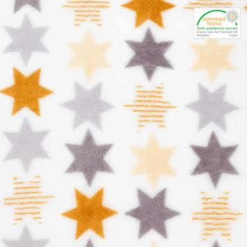 Polaire microfibre blanche imprimée étoiles or et argent