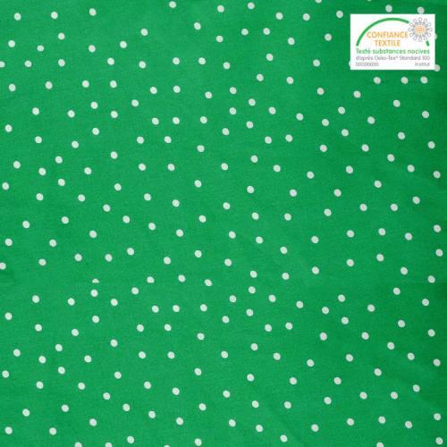 Coton vert à pois blancs