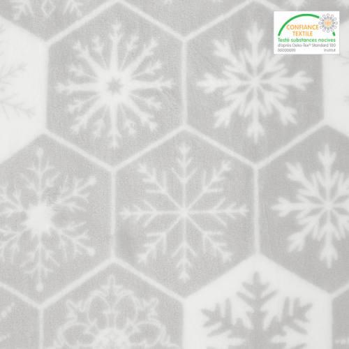 Polaire microfibre gris clair imprimée flocon de neige