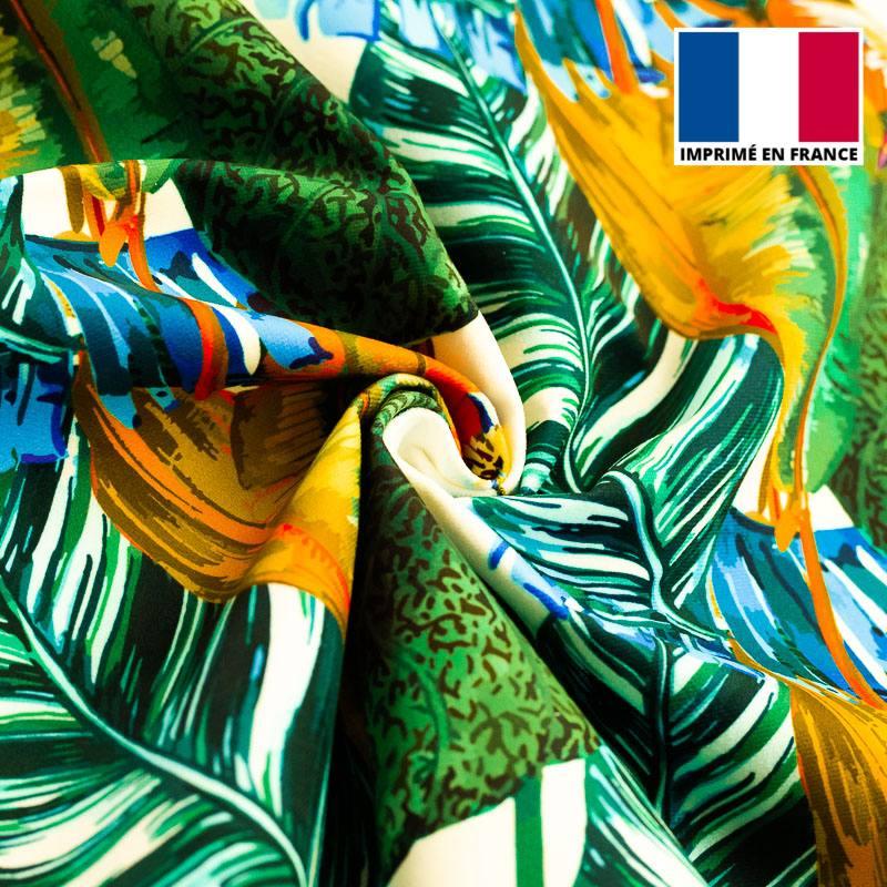 Velours ras imprimé jungle et colibri orange