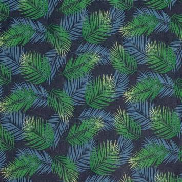 Coton bleu marine motif feuilles tropicales bleues et vertes