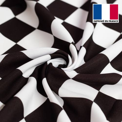 Tissu burlington imprimé damier noir et blanc