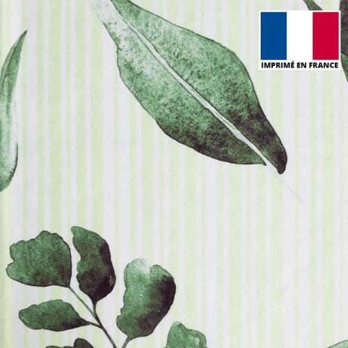 Eponge blanche imprimée rayures et feuilles vertes