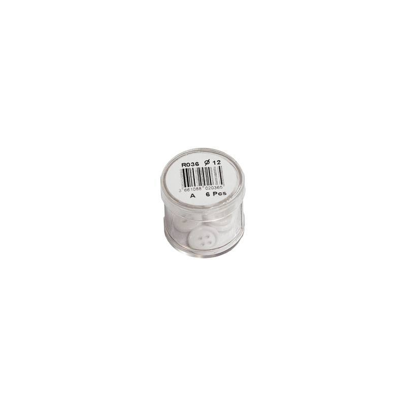Bouton blanc rond 2 trous 12mm
