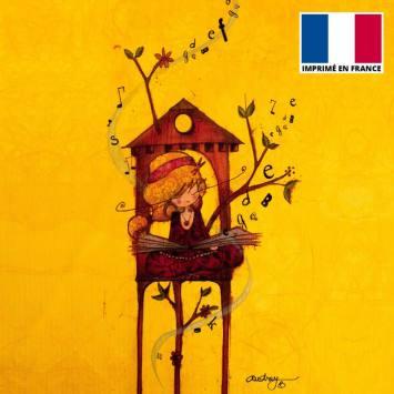 Coupon toile canvas fille et lettres - Audrey Baudo