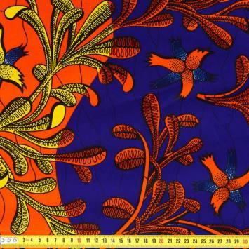 Wax - Tissu africain arbuste orange jaune 421