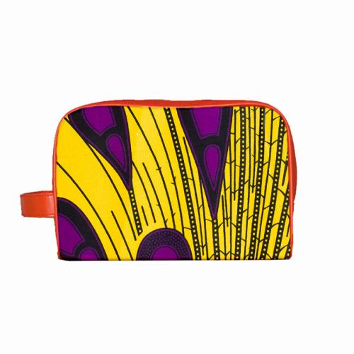 Wax - Tissu africain jaune goutte violette 420