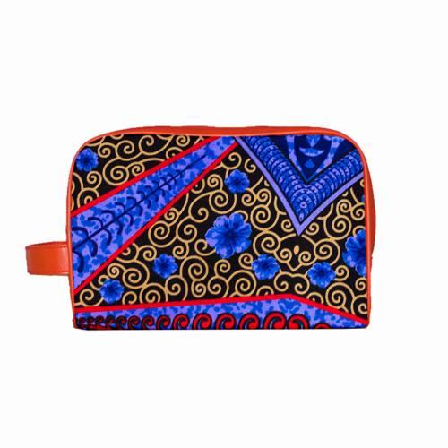 Wax - Tissu africain triangles et arabesques bleus 402