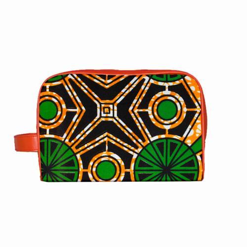 Wax - Tissu africain orange formes vertes 426