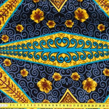 Wax - Tissu africain triangles et arabesques noirs 404