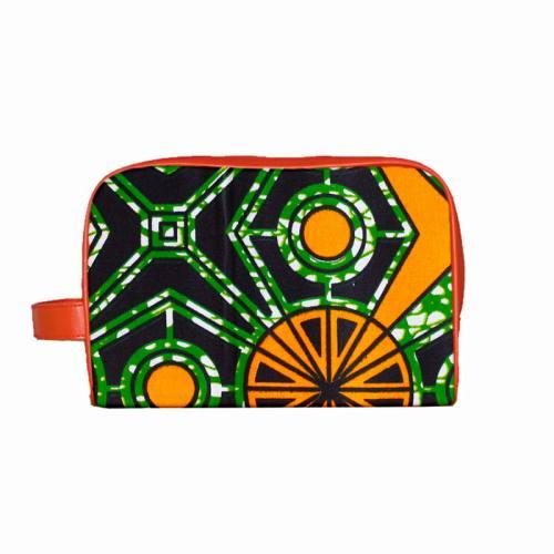 Wax - Tissu africain vert formes orange 427