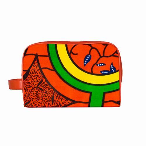 Wax - Tissu africain orange et vert 405