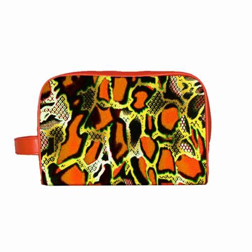 Wax - Tissu africain snake coloré jaune et orange 408