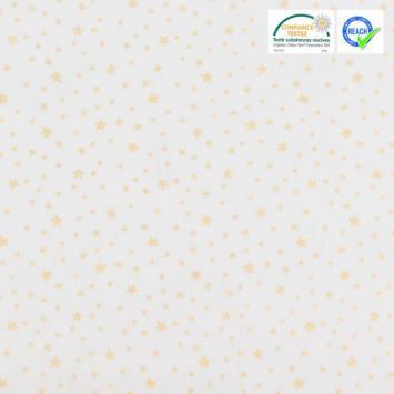 coupon - Coupon 62cm - Coton blanc motif étoile or dousni