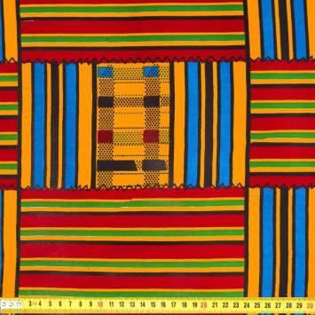 Wax - Tissu africain rayures orange et bordeaux 414