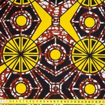Wax - Tissu africain marron formes jaune 428