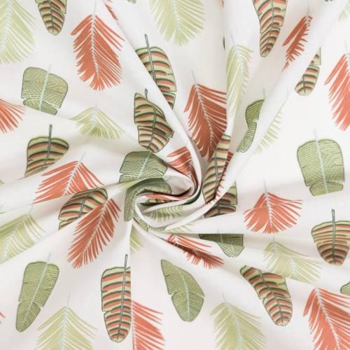 coupon - Coupon 49cm - Coton écru motif feuille de palmier palmade