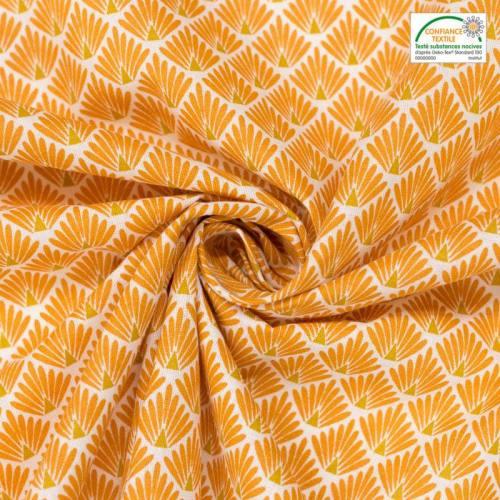 coupon - Coupon 38cm - Coton imprimé écailles safran et ocre