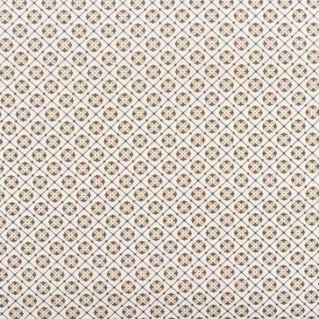 coupon - Coupon 60cm - Popeline de coton motif mosaïque sable