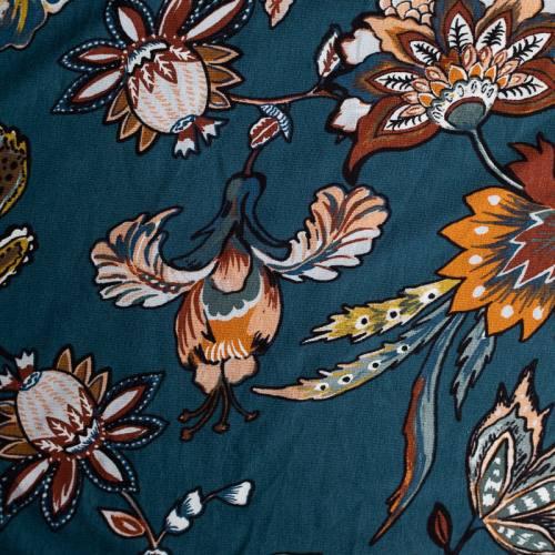 Jersey viscose bleu motif fleur ornementale style cachemire