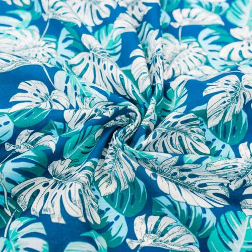 Coton bleu motif feuille tropicale verte et blanche
