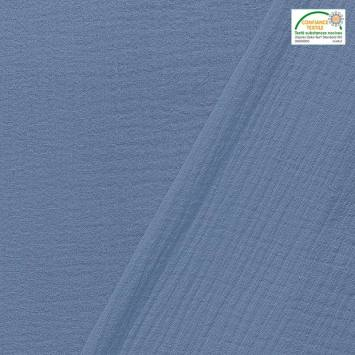coupon - Coupon 70cm - Double gaze unie bleu jean