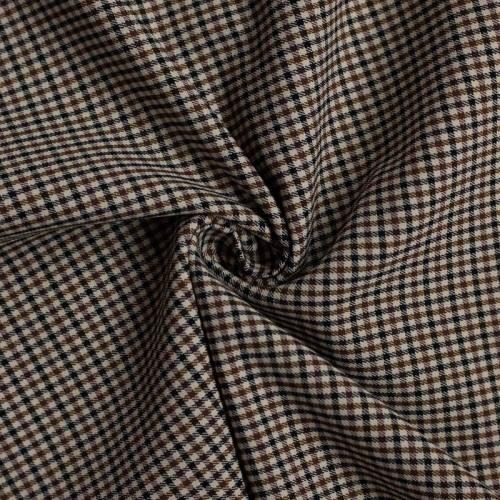 Tissu à petits carreaux beiges, bruns et noirs