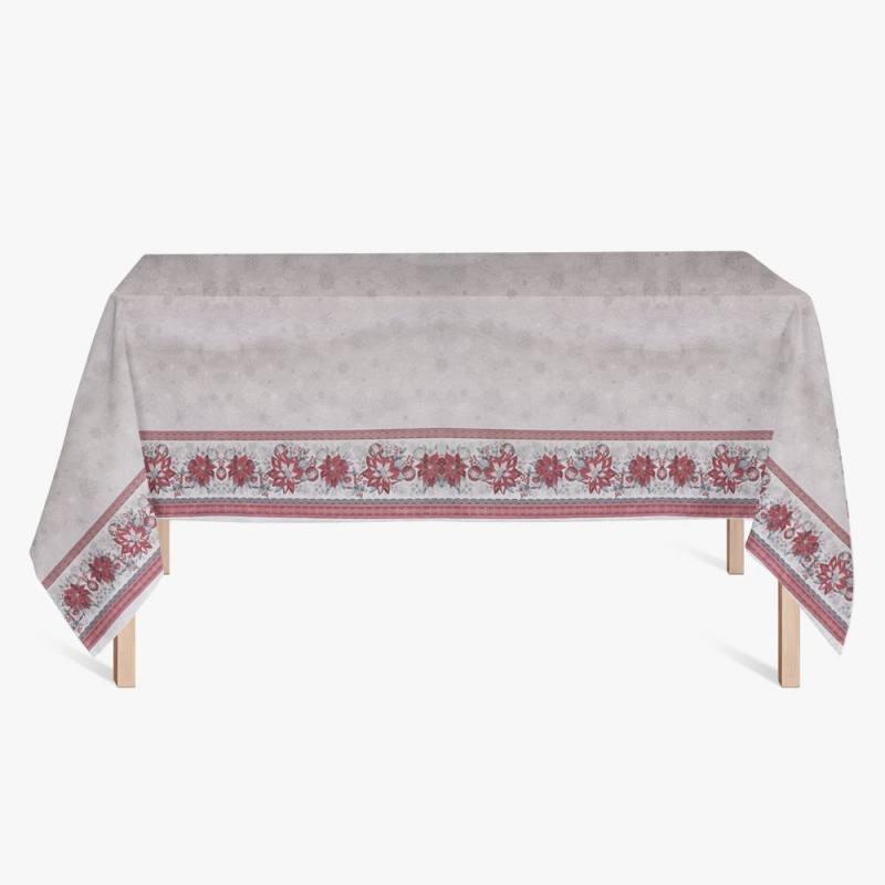 Tissu pour nappe de Noël blanc, rouge et argent