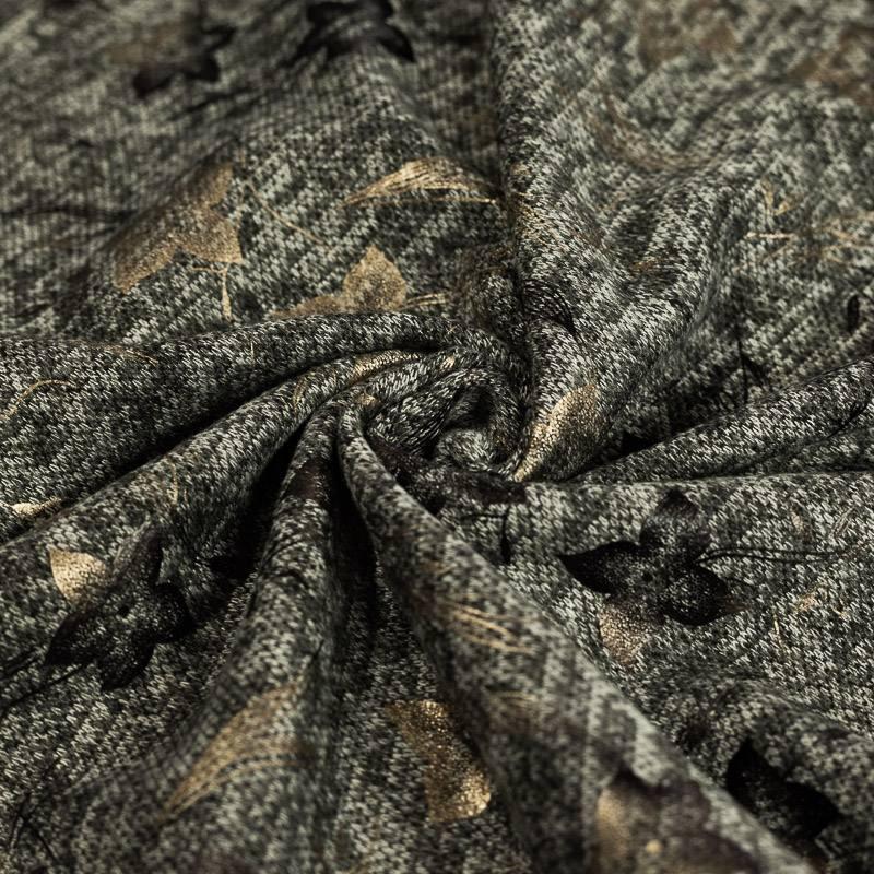 Jersey lainage gris chiné imprimé fleurs dorées