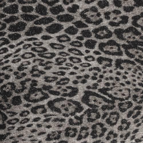Tissu maille tricot pailleté imprimé léopard gris