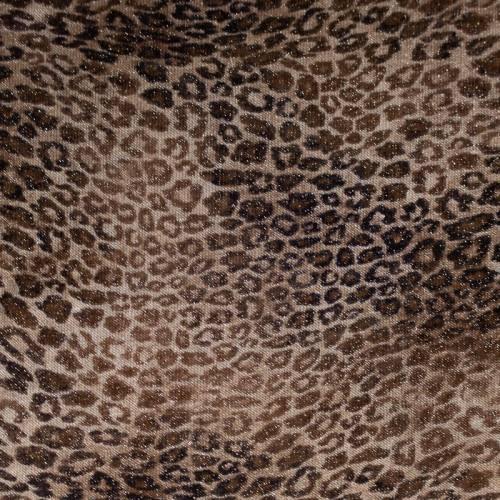 Tissu maille tricot pailleté imprimé léopard sable