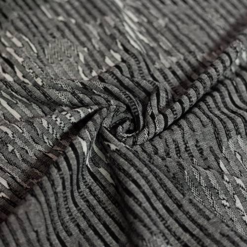 Jersey jacquard gris motif formes abstraites