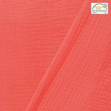 coupon - Coupon 30cm - Double gaze unie corail