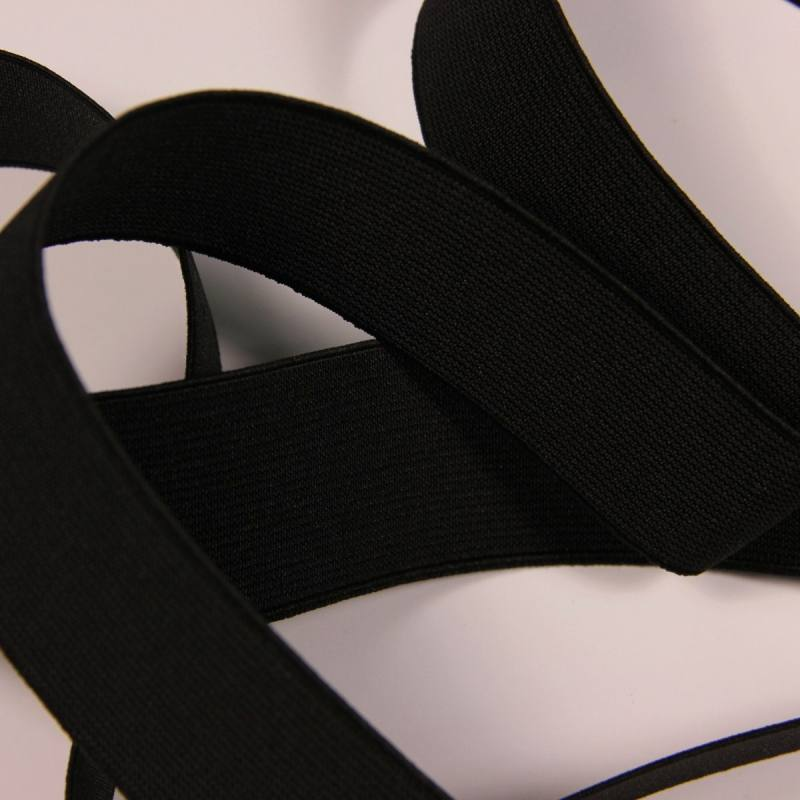 Elastique côtelé noir 40 mm