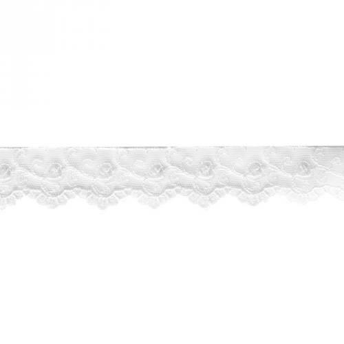 Dentelle broderie 35mm motif petits coeurs sur tulle blanc