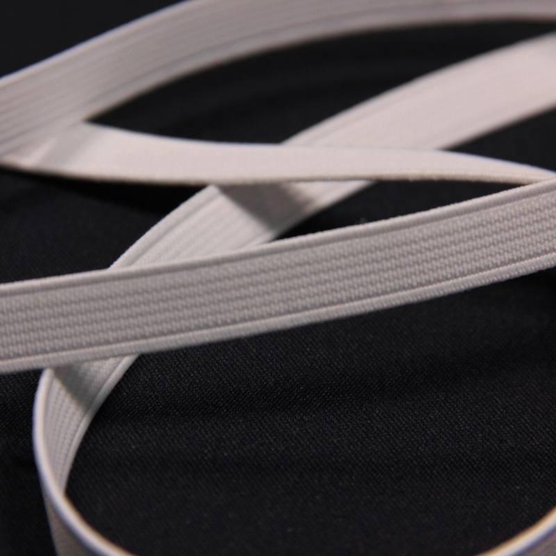 Elastique côtelé blanc 10 mm