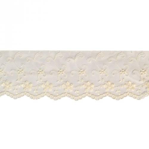 Dentelle broderie 70mm motif fleurs sur tulle écru