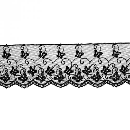Dentelle broderie 65mm motif papillons sur tulle noir