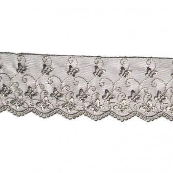 Dentelle broderie motif petits papillons sur tulle gris