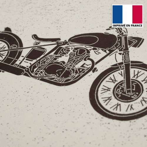 Coupon de velours ras motif vieux motard 86x44cm et fermeture offerte