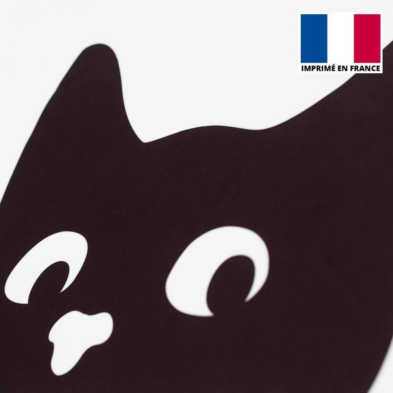 Coupon de velours ras motif interdit aux chats 134x44cm et fermeture offerte