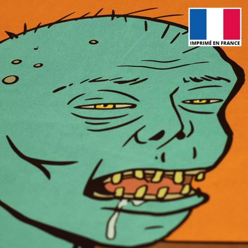 Coupon de velours ras motif zombie sieste 86x44cm et fermeture offerte