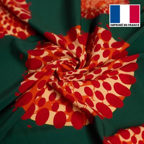 Tissu microfibre vert forêt motif wax cercles rouges tp6