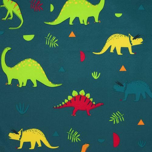 Tissu softshell bleu canard motif dinosaure
