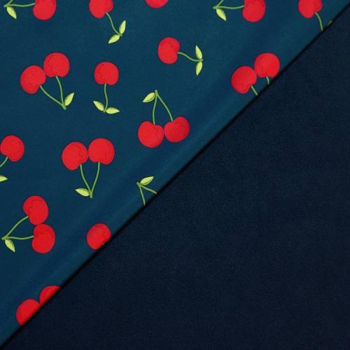 Tissu softshell bleu marine motif cerises
