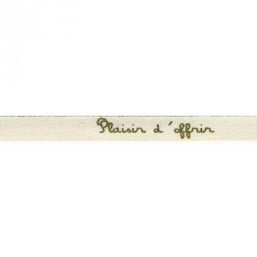 """Ruban écriture """"plaisir d'offrir"""" beige et doré"""