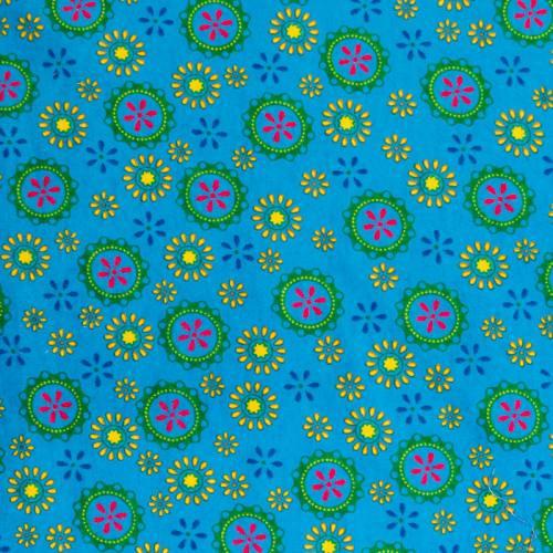 coupon - Coupon 48cm - Flanelle de coton bleue imprimée rosaces