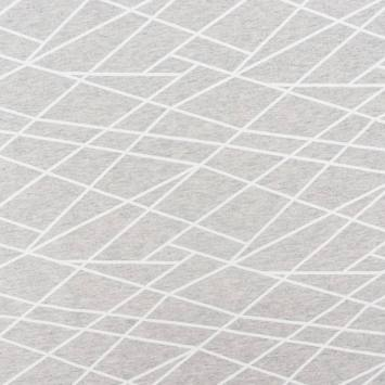 Jersey French Terry gris motif géométrique blanc