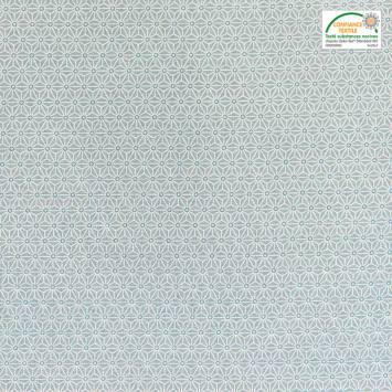 Coton enduit vert d'eau petit motif asanoha blanc