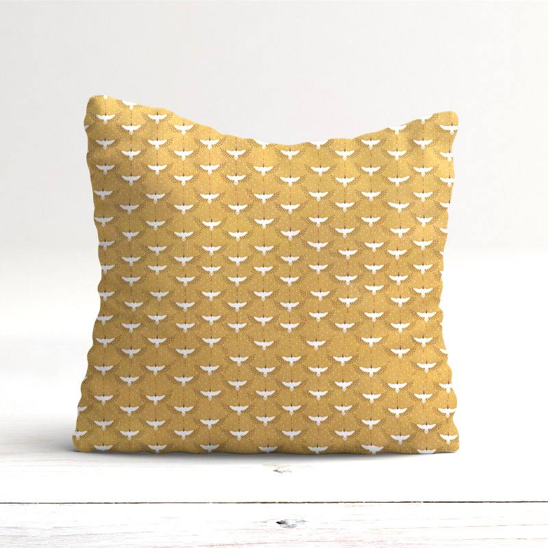 Coton ocre imprimé grue gruzzie